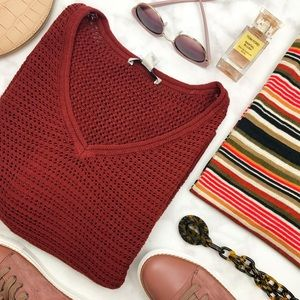 Rust V Neck Open Knit Dolman Sleeve Sweater